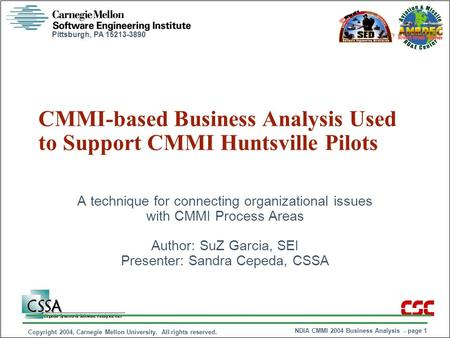 Pittsburgh, PA 15213-3890 NDIA CMMI 2004 Business Analysis - page 1 Copyright 2004, Carnegie Mellon University. All rights reserved. CMMI-based Business.