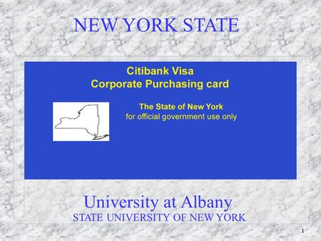 1 University at Albany NEW YORK STATE STATE UNIVERSITY OF NEW YORK.