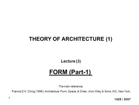 THEORY OF ARCHITECTURE (1)