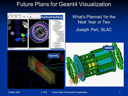 12 May 2007 J. Perl Future Plans for Geant4 Visualization 1 HepRep/HepRApp DAWN OpenGL Future Plans for Geant4 Visualization What's Planned for the Next.