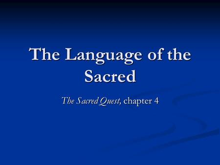 The Language of the Sacred