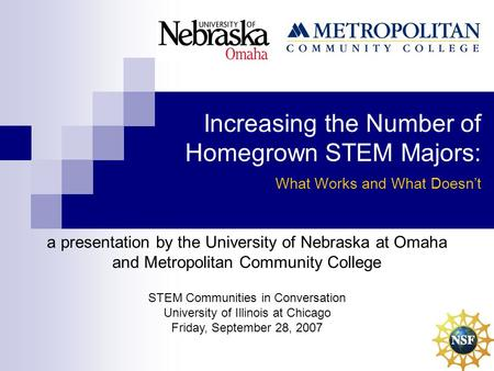 Increasing the Number of Homegrown STEM Majors: What Works and What Doesn't a presentation by the University of Nebraska at Omaha and Metropolitan Community.
