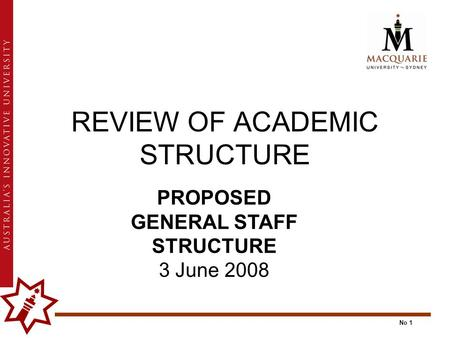 No 1 REVIEW OF ACADEMIC STRUCTURE PROPOSED GENERAL STAFF STRUCTURE 3 June 2008.