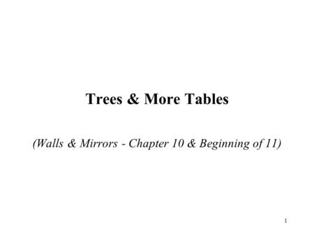 1 Trees & More Tables (Walls & Mirrors - Chapter 10 & Beginning of 11)
