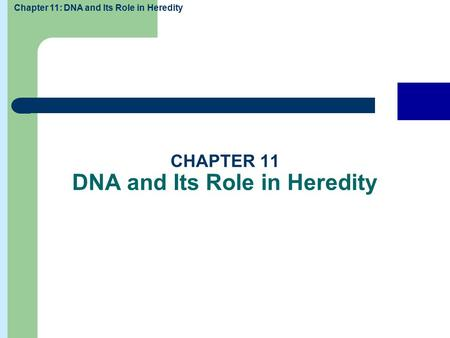 Chapter 11: DNA and Its Role in Heredity Exit Next Previous Home Discussion topics Chapter summaries CHAPTER 11 DNA and Its Role in Heredity.