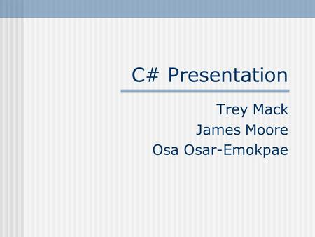 Trey Mack James Moore Osa Osar-Emokpae