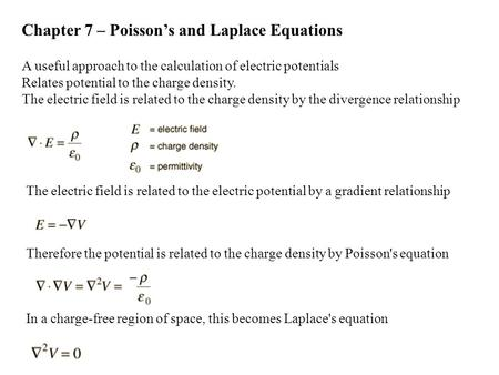 Chapter 7 – Poisson's and Laplace Equations