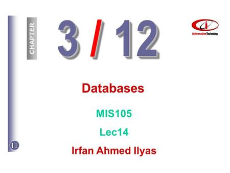 11 3 / 12 CHAPTER Databases MIS105 Lec14 Irfan Ahmed Ilyas.