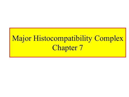 Major Histocompatibility Complex Chapter 7. MHC Major Histocompatibility Complex –Cluster of genes found in all mammals –Its products play role in discriminating.