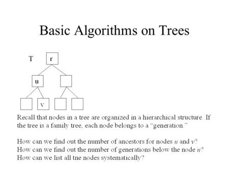 Basic Algorithms on Trees. If the node v is the root, then the depth of the node v is 0. Otherwise, the depth of the node v is one plus the depth of.