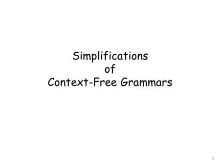 1 Simplifications of Context-Free Grammars. 2 A Substitution Rule substitute B equivalent grammar.