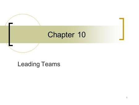 1 Chapter 10 Leading Teams. 2 Team A unit of two or more people who interact and coordinate their work to accomplish a shared goal or purpose.