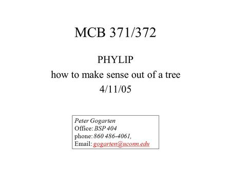 MCB 371/372 PHYLIP how to make sense out of a tree 4/11/05 Peter Gogarten Office: BSP 404 phone: 860 486-4061,