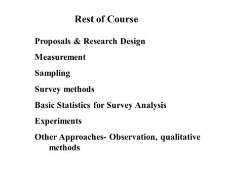 Rest of Course Proposals & Research Design Measurement Sampling Survey methods Basic Statistics for Survey Analysis Experiments Other Approaches- Observation,