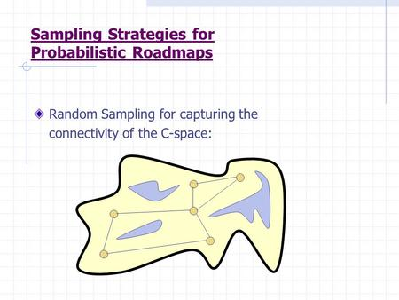 Sampling Strategies for Probabilistic Roadmaps Random Sampling for capturing the connectivity of the C-space: