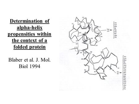 Determination of alpha-helix propensities within the context of a folded protein Blaber et al. J. Mol. Biol 1994.