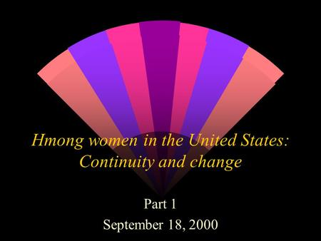 Hmong women in the United States: Continuity and change Part 1 September 18, 2000.