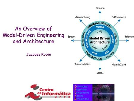 Ontologies Reasoning Components Agents Simulations An Overview of Model-Driven Engineering and Architecture Jacques Robin.