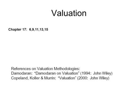 Valuation Chapter 17: 6,9,11,13,15. Myths about valuation Since valuation models are quantitative, valuation is objective A well-researched and well-done.