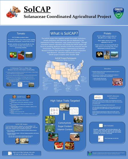SolCAP Solanaceae Coordinated Agricultural Project What is SolCAP? The SolCAP project links together people from public institutions, private institutions.