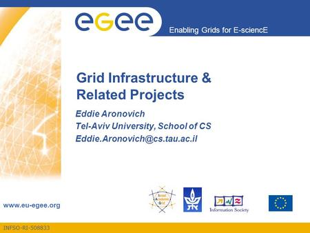 INFSO-RI-508833 Enabling Grids for E-sciencE  Grid Infrastructure & Related Projects Eddie Aronovich Tel-Aviv University, School of CS