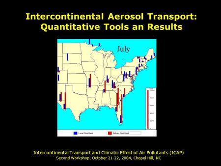 Intercontinental Transport and Climatic Effect of Air Pollutants (ICAP) Second Workshop, October 21-22, 2004, Chapel Hill, NC Intercontinental Aerosol.