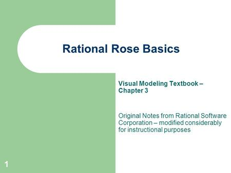 Rational Rose Basics Visual Modeling Textbook – Chapter 3
