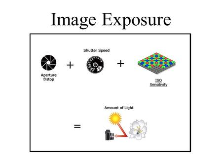 Image Exposure. Exposure Exposure = Intensity of Light (X) Time Intensity = is controlled by the aperture (f/stop) Time = is controlled by the shutter.