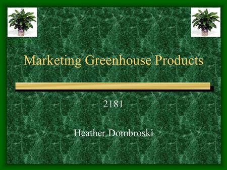 Marketing Greenhouse Products 2181 Heather Dombroski www.1stinflowers.com/ plant02.htm.