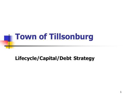 1 Town of Tillsonburg Lifecycle/Capital/Debt Strategy.