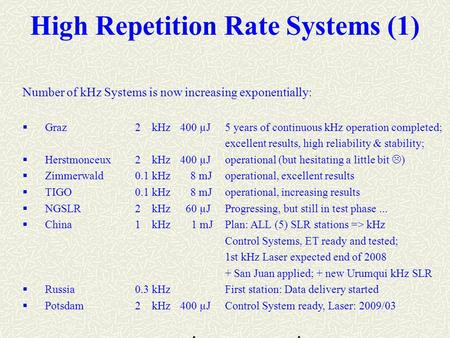 High Repetition Rate Systems (1) Number of kHz Systems is now increasing exponentially:  Graz2 kHz400 µJ5 years of continuous kHz operation completed;