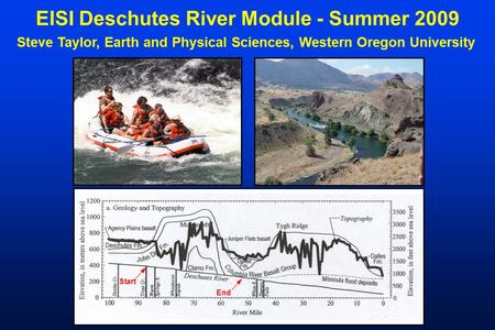 EISI Deschutes River Module - Summer 2009 Steve Taylor, Earth and Physical Sciences, Western Oregon University Start End.