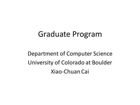 Graduate Program Department of Computer Science
