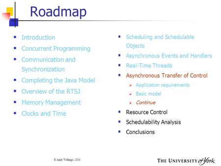 © Andy Wellings, 2004 Roadmap  Introduction  Concurrent Programming  Communication and Synchronization  Completing the Java Model  Overview of the.