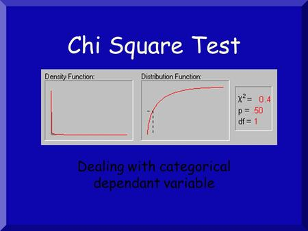 Chi Square Test Dealing with categorical dependant variable.