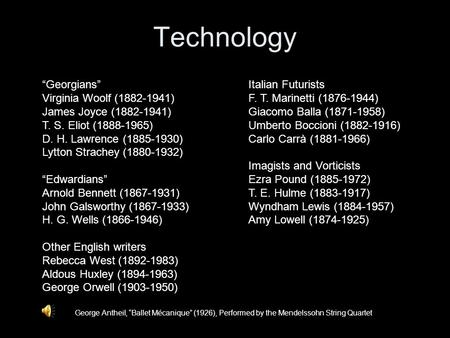 "Technology George Antheil, ""Ballet Mécanique"" (1926), Performed by the Mendelssohn String Quartet ""Georgians"" Virginia Woolf (1882-1941) James Joyce (1882-1941)"