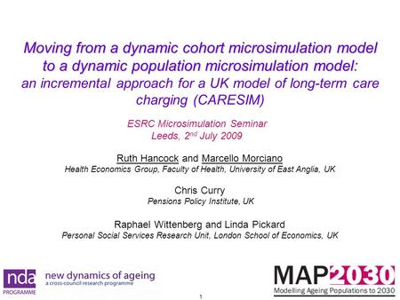1 Moving from a dynamic cohort microsimulation model to a dynamic population microsimulation model Moving from a dynamic cohort microsimulation model to.
