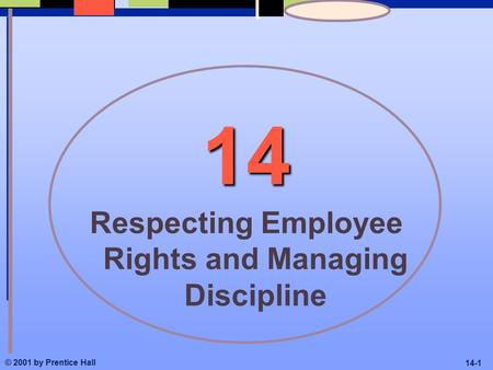 © 2001 by Prentice Hall 14-1 14 Respecting Employee Rights and Managing Discipline.