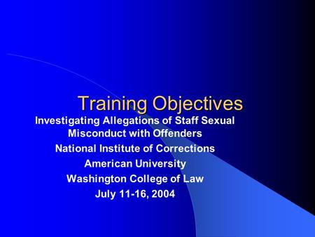 Sexual predator recognition training