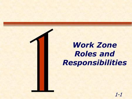 1-1 Work Zone Roles and Responsibilities. 1-2 Module Objectives  Recognize the roles of LEOs and others in work zones  List LEO responsibilities and.