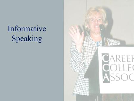 Informative Speaking. Purpose of Informative Speeches The main goal is to increase the audience's understanding or awareness by imparting knowledge. Provides.
