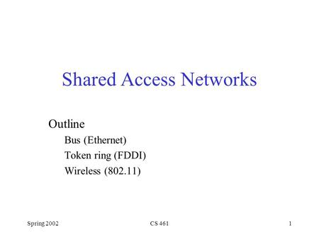 Spring 2002CS 4611 Shared Access Networks Outline Bus (Ethernet) Token ring (FDDI) Wireless (802.11)