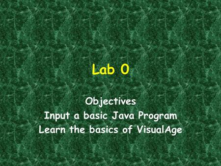 Lab 0 Objectives Input a basic Java Program Learn the basics of VisualAge.