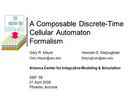 A Composable Discrete-Time Cellular Automaton Formalism Gary R. Mayer Hessam S. Sarjoughian Arizona Center for Integrative.
