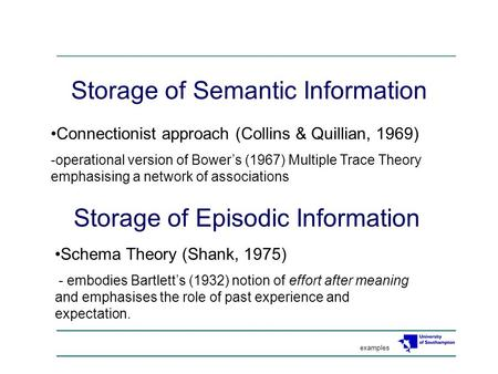 Storage of Semantic Information Connectionist approach (Collins & Quillian, 1969) -operational version of Bower's (1967) Multiple Trace Theory emphasising.