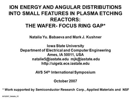 THE WAFER- FOCUS RING GAP*
