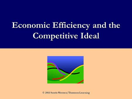 Economic Efficiency and the Competitive Ideal © 2003 South-Western/Thomson Learning.