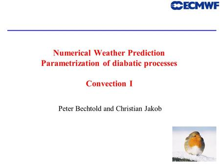 1 Numerical Weather Prediction Parametrization of diabatic processes Convection I Peter Bechtold and Christian Jakob.
