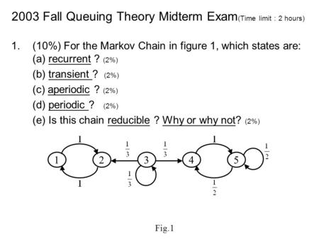 2003 Fall Queuing Theory Midterm Exam(Time limit:2 hours)
