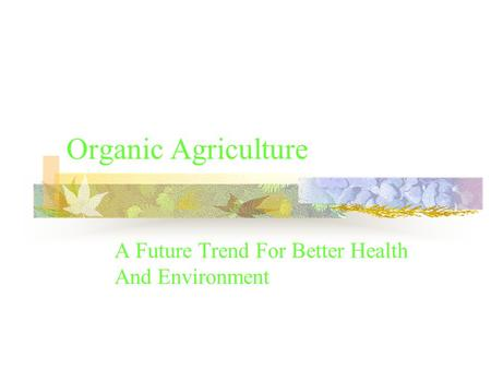 Organic Agriculture A Future Trend For Better Health And Environment.